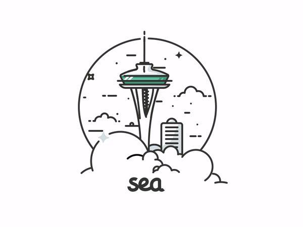 San Francisco, New York & Seattle en illustrations animées