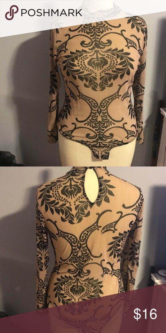 Nude Printed Mesh Bodysuit Nude Printed Mesh Bodysuit. Never worn Tops 3