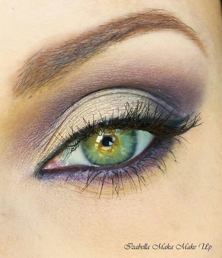 Gray and purple eye shadow.