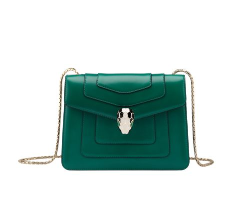 $2780 AUD Shoulder bag Serpenti Forever in emerald green calf leather with brass light gold plated Serpenti head closure in black and white enamel with eyes in malachite. Small size with one gusset, pocket mirror and precious snake body-shaped chain. Also available in other colours. 20 x 15 x 3,5 cm. - 7.9 x 5.1 x 1.4'' | Bulgari