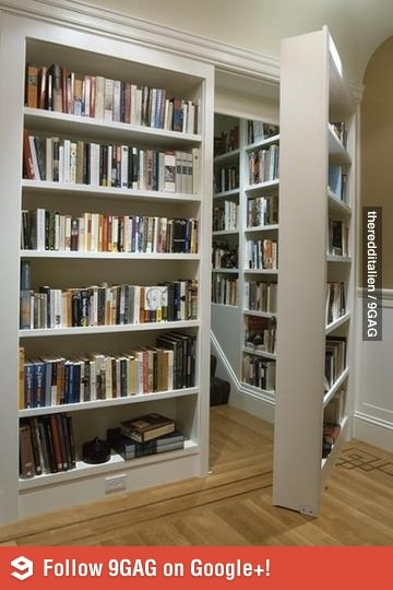 Secret Room behind a bookcase. - Looks like thats where they keep the good books. LOL.
