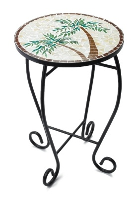 A decorative piece of furniture! This colorful accent table features a tropical mosaic palm tree design. Some assembly may be required. Measures 14'' x 23''.