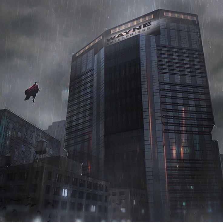 Unique Batman Vs Superman Bedroom Ideas That Rock: Superman In Gotham Front Of The Wayne Tower (batman Vs
