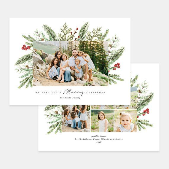 Christmas Card Photoshop Template Merry Christmas Card Etsy Holiday Card Pictures Holiday Photo Cards Design Christmas Card Template