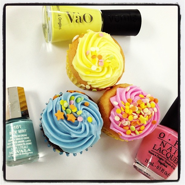 Pairing pastel polishes with cupcakes! #makeup #beauty