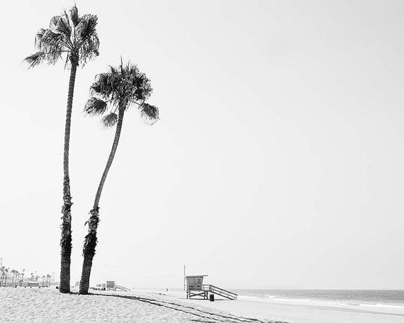 "Black And White Beach Photography, Palm Trees, Los Angeles California Beach, Lifeguard Tower, Beach Photography, ""Dockweiler Beach"""
