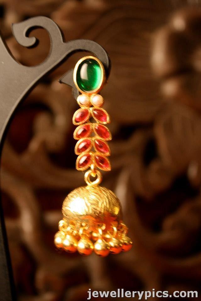 Gold designer jhumka | buttalu with pearls-rubies-emaralds-diamond from citrine jewellers - Latest Jewellery Designs
