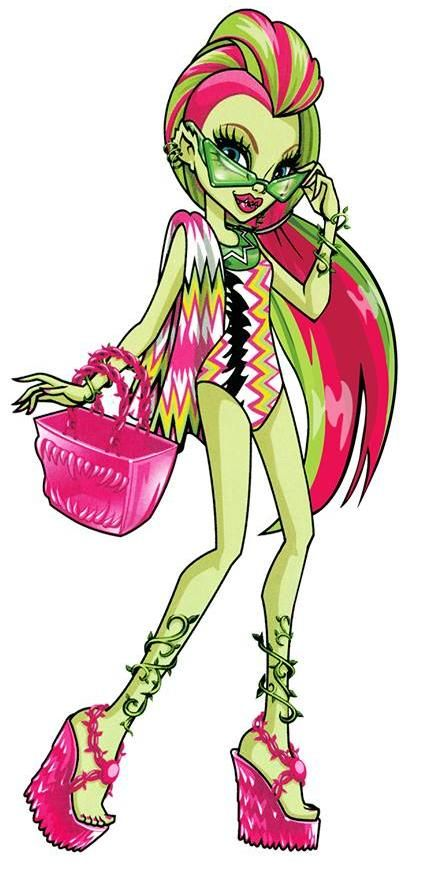 Venus McFlytrap is a 2012-introduced and all-around character. She is a plant monster and a student at Monster High. She is an eco punk girl who is the head of the Environmental Club. The MH Environmental Club Works its Magic Earth Day Love Sprouts, Thanks to Venus An ecology driven girl, she is a friend of the world and is loved by everyone, however she has built quite a negative reputation due to her mind controlling abilities. Venus is originally voiced in English by Julie Maddalena...