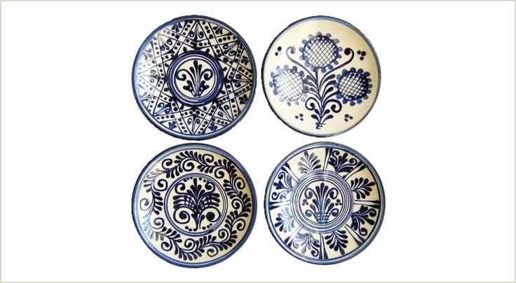 Blue and white 8cm diameter plates in Szász design