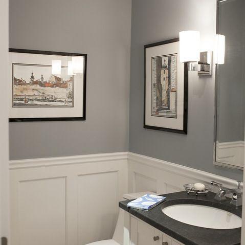 powder room grey white board and batten, black framed art
