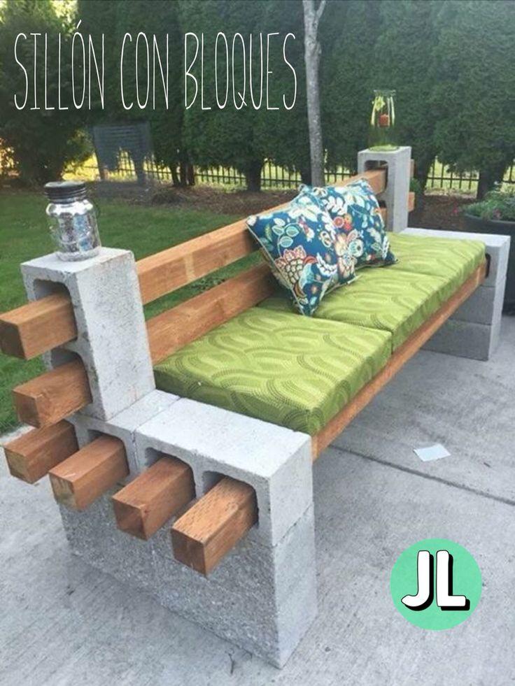 hermoso silln de jardn con bloques de cemento y madera
