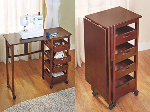 New Table Sewing Machine Craft Storage Shelves Drop Leaf