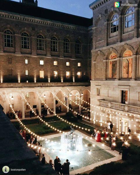 wedding, wedding lighting, lighting design, bistro lights, string lights, courtyard, boston public library, boston, reception, event lighting