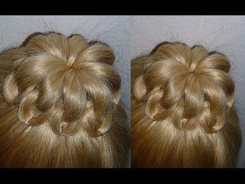 Причёски для средних, длинных волос.Причёска Пучок из волос.Ажурный пучок с плетением - YouTube