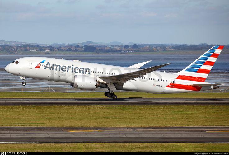 American Airlines Boeing 787-8 Dreamliner (registered N805AN) departing Auckland