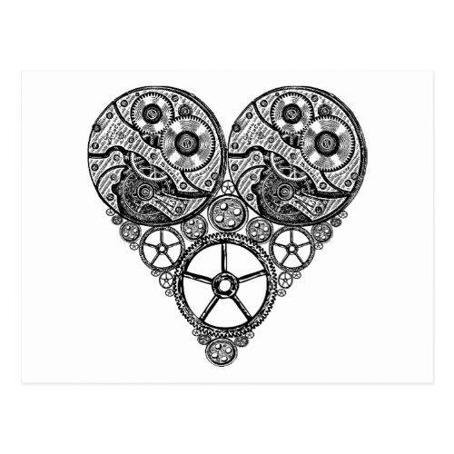Steampunk Clock Works And Gear Heart Postcard Steampunk Wedding