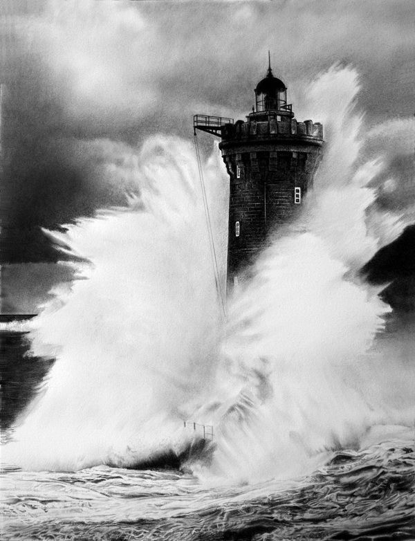 Lighthouse by francoclun, Cool Wave Drawings for Inspiration, http://hative.com/wave-drawings/,