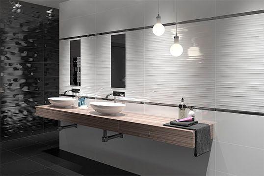 Черно-белая плитка для ванной комнаты, с волной