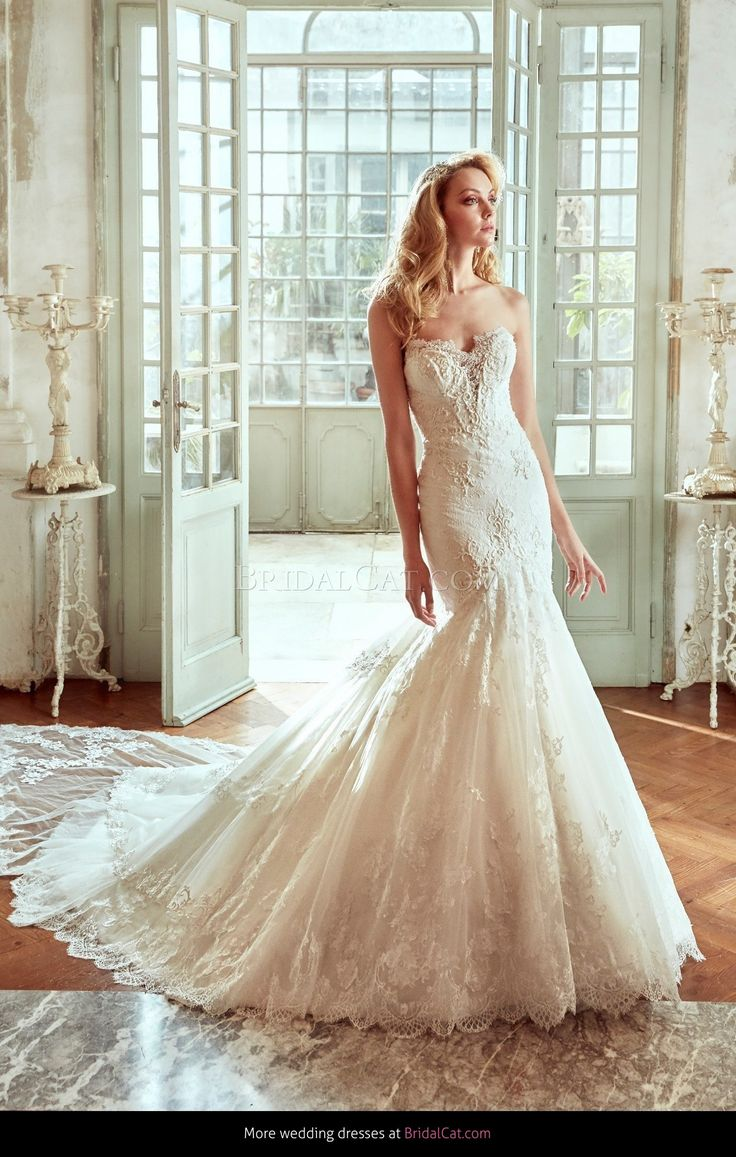 The Kate from Nicole Spose is a full lace, mermaid wedding dress complete with a sweetheart neckline and lace border. #bridal #BridalManor #style