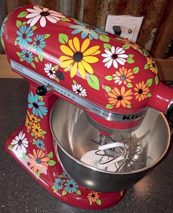 Wildflower Kitchen Mixer Decals African Daisy by thewordnerdstudio
