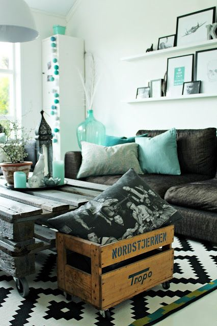 Black and Teal Livingroom - this is the style I like PLUS some orange, coral or ink accents would be just a bit warmer