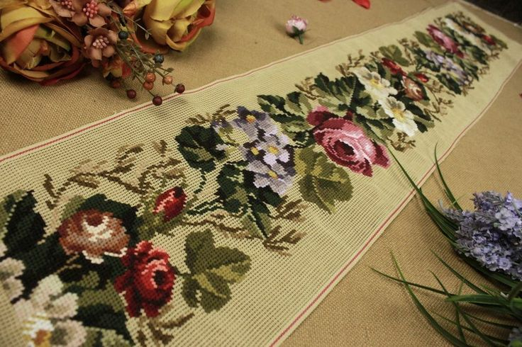 "49"" Vintage Preworked Needlepoint Canvas  Roses & Leaves Runner Bell Pull?"