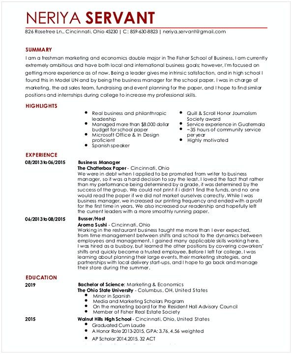 Entry Level Waitress Resume Hotel And Restaurant
