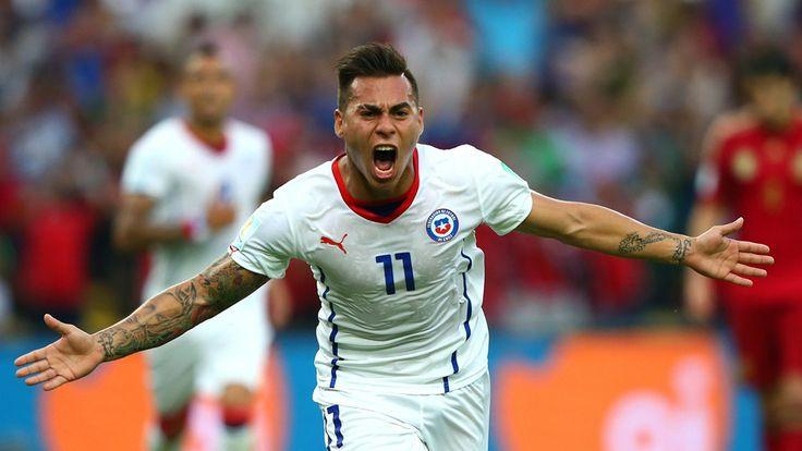 Eduardo Vargas of Chile celebrates scoring