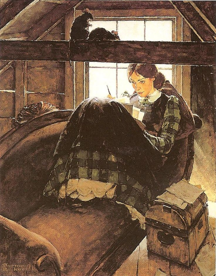 Norman Rockwell's painting of Jo writing in the attic.