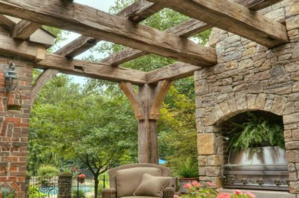 Design, Fabrication, Installation of antique reclaimed hardwood beams joining fireplace and outdoor cooking area with house overlooking swimming pool.  Custom corbels with peg detail.: Rustic Pergolas, Dreams Houses, Outdoor Fireplaces Pergolas, Outdoor Living, Outdoor Cooking, Outdoor Area, Outdoor Spaces, Timber Pergolas, Wood Beams