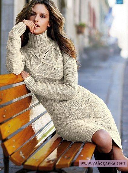 Платье спицами с высоким горлом. Ажурное платье для женщин спицами
