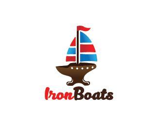 Iron Boats Logo design - Logo design of a anvil shaped like a sailing boat.  Price $299.00