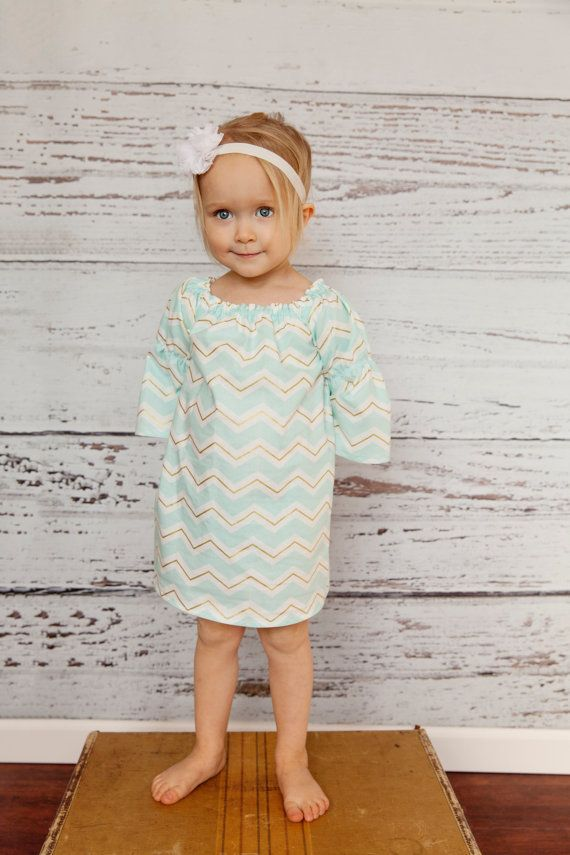Aqua Blue Metallic Gold Chevron Easter Dress by MooseBabyCreations