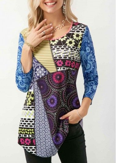 Round Neck Three Quarter Sleeve Printed T Shirt | Rosewe.com - USD $29.05
