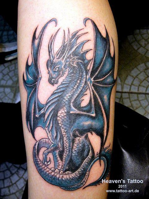 Dragon Tattoos for Women   Tattoos.so » Blue Western Dragon Tattoo on Forearm