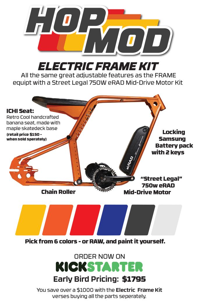 Retro 70's style Electric Bike | Frame Kit inspired by the BMX, Muscle & Mini Bikes WE ALL LOVED AS KIDS!