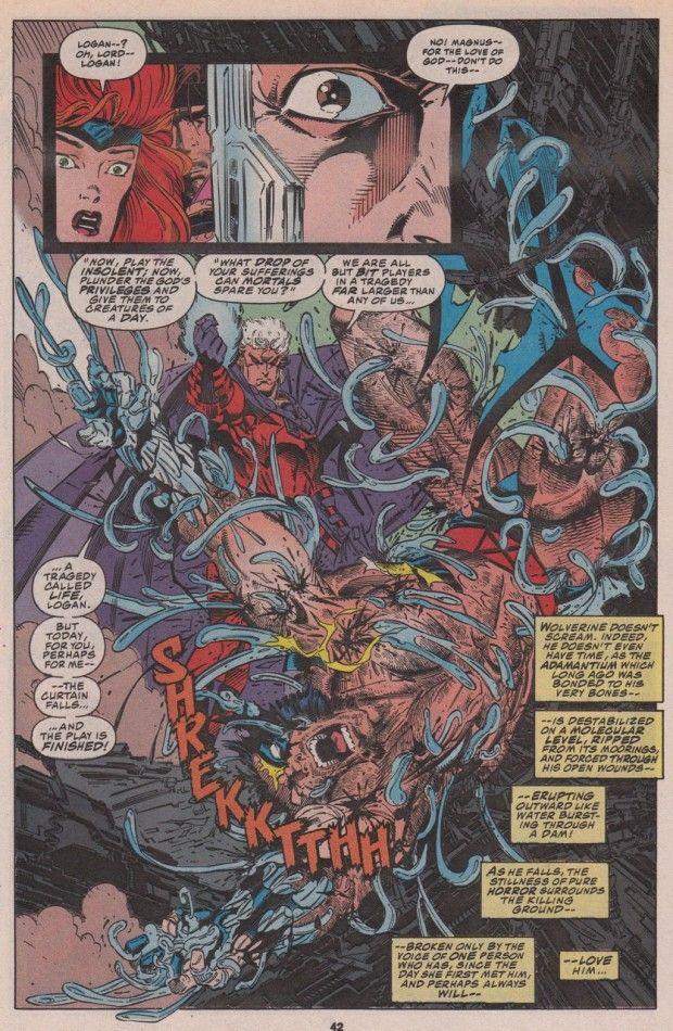 Magneto pulls the adamantium from Wolverine's skeleton (from X-Men #25)