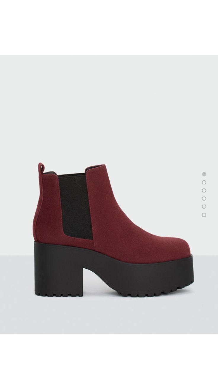 Mujer Liso Bloque Tacón Alto Plataforma Botines Grueso Zapatos Talla - Marrón Mocca Ante Sintético, 37 EU