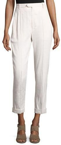 Isabel Marant Slim-Leg Cuffed Pants, White