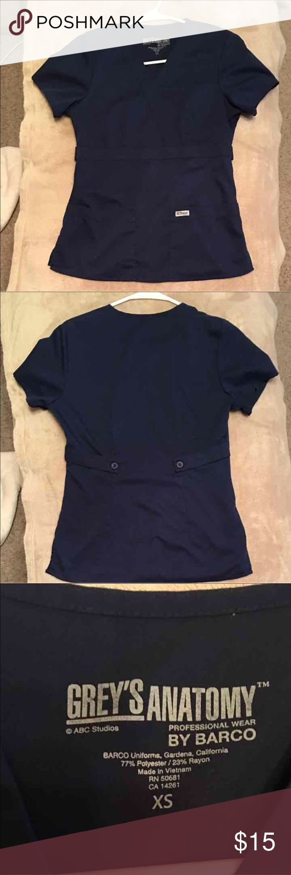 Grey's Anatomy scrub top Grey's Anatomy by Barco, size XS.  Like new condition. Bought it from the scrub store but it is too small for me. I couldn't return it because I had already removed the tags. Navy color. Tops