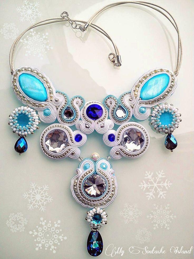 Winter snowflake soutache necklace, white, blue, navy, silver