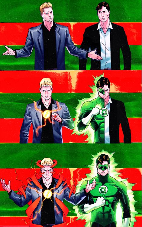 The costume change race between Barry Allen/The Flash and Hal Jordan/Green Lantern.