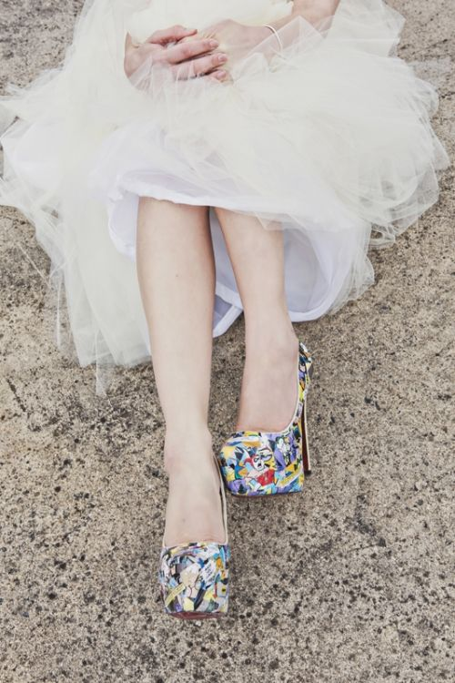 Wedding day comic book heels. Photo by Lorna Lovecraft. If I learned how to walk in these, this is what I'd love to do.