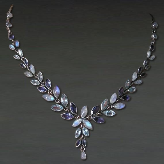 Handmade Artisan Pearl moonstone Purple Amethyst  Blue Topaz Gemstone Necklace