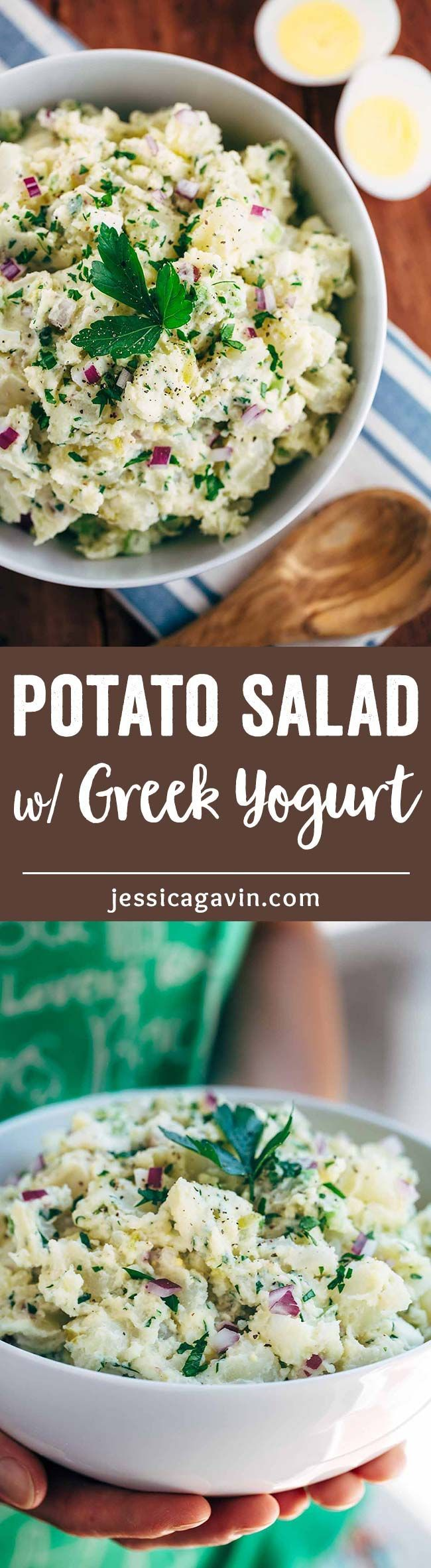 Easy Creamy Potato Salad with Yogurt - A healthier version of this classic side dish with extra protein and the luscious texture you crave! | jessicagavin.com