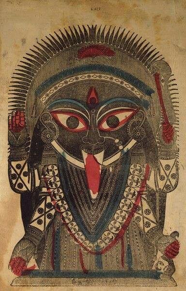 Kali. Hand-Colored Woodblock Print, India. 1850s.