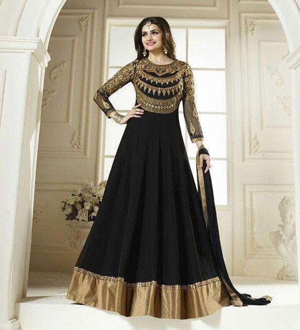 Prachi Desai Georgette Zari Work Black Semi Stitched Long Anarkali Suit - 2947