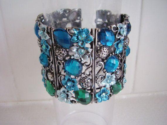 Enamel Cuff Bracelet Lace Filigree Open Work by Vintage0Sparklers