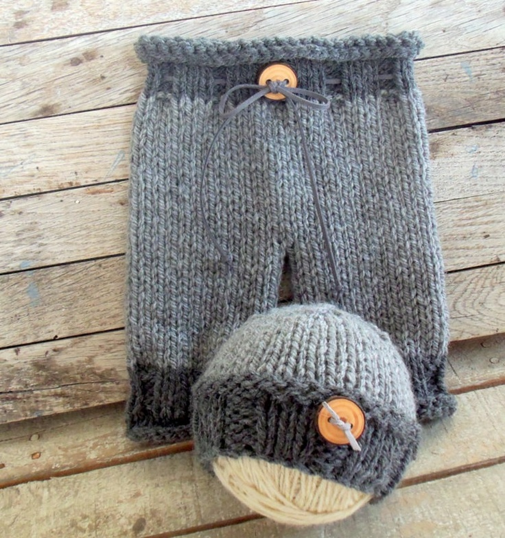 Newborn Knit Pants and Hat Set Baby Knit Pants and Beanie by zoik