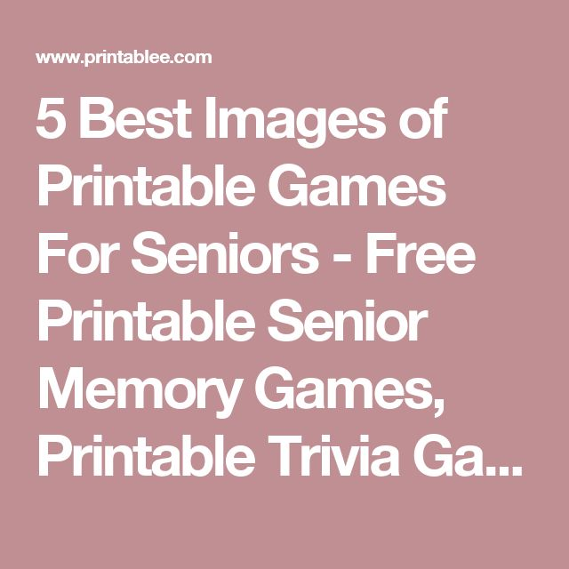 It is a photo of Remarkable Memory Games for Seniors Printable